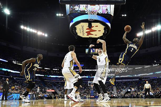 Rodney Stuckey of the Indiana Pacers takes a shot during the first half of a game against the New Orleans Pelicans at the Smoothie King Center on...