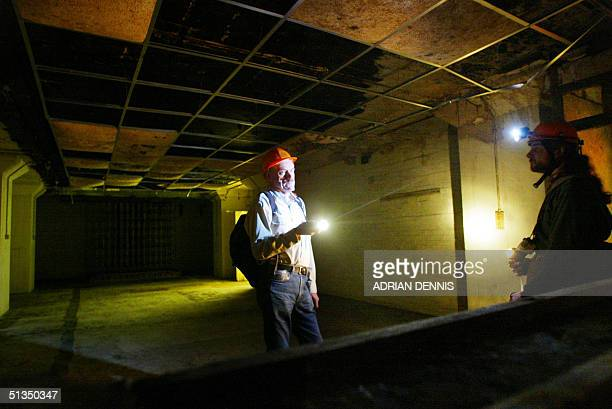 Rodney Taylor and Robin Ware members of Subterranea Britannica, look around one of the rooms inside a secret Second World War underground bunker in...