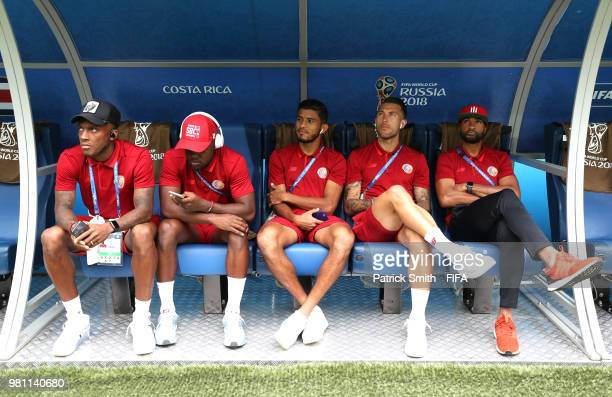 Rodney Wallace, Joel Campbell, Johan Venegas, Francisco Calvo and Patrick Pemberton of Costa Rica sit on the bench prior to the 2018 FIFA World Cup...