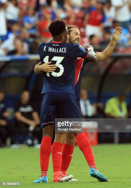 Rodney Wallace of Costa Rica celebrates a goal with Marco Urena against French Guiana during the 2017 CONCACAF Gold Cup at Toyota Stadium on July 14...