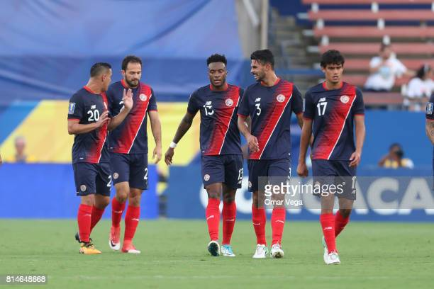 Rodney Wallace of Costa Rica celebrates with teammates after scoring the second goal of his team during the CONCACAF Gold Cup Group A match between...