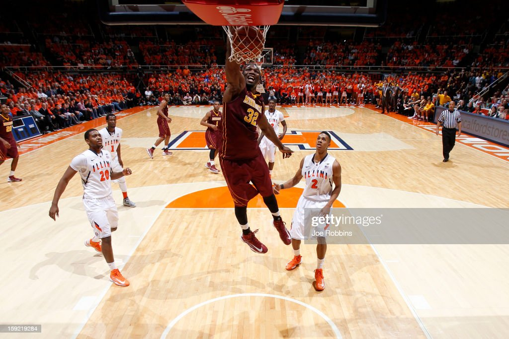 Rodney Williams #33 of the Minnesota Golden Gophers dunks the ball against the Illinois Fighting Illini during the game at Assembly Hall on January 9, 2013 in Champaign, Illinois. Minnesota won 84-67.