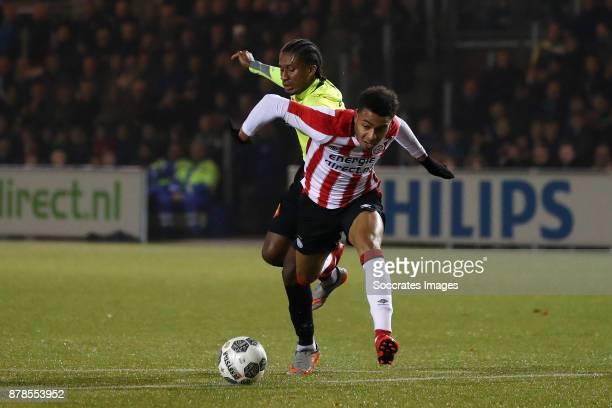 Rodny Cabral of Telstar Donyell Malen of PSV U23 during the Dutch Eredivisie match between PSV U23 v Telstar at the De Herdgang on November 24 2017...
