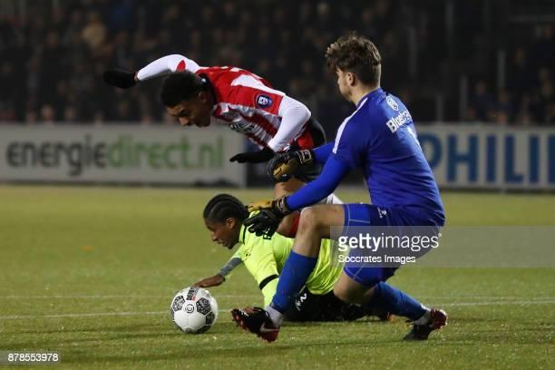 Rodny Cabral of Telstar Donyell Malen of PSV U23 Rody de Boer of Telstar during the Dutch Eredivisie match between PSV U23 v Telstar at the De...