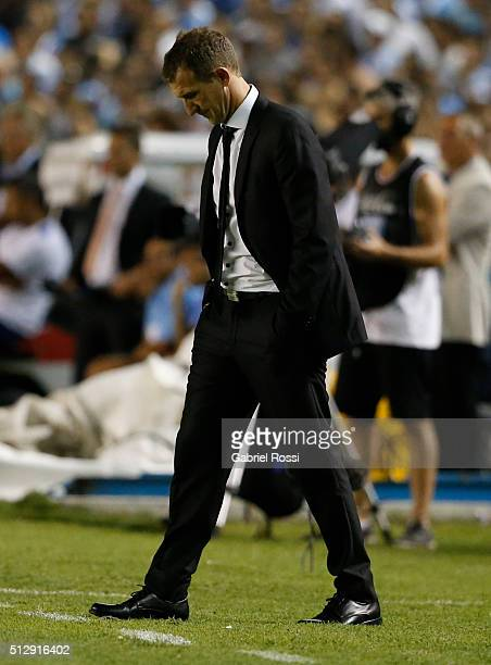 Rodolfo Arruabarrena coach of Boca Juniors looks dejected during a fifth round match between Racing Club and Boca Juniors as part of Torneo...