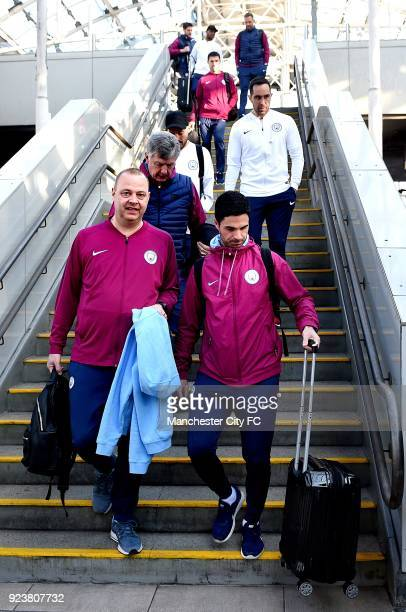 Rodolfo Borrell Mikel Arteta Manel Estiarte Brian Kidd and Claudio Bravo of Manchester City arrives at Piccadilly train station on route to the...