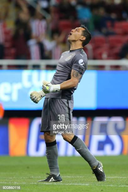 Rodolfo Cota goalkeeper of Chivas celebrates during the 8th round match between Chivas and Pachuca as part of the Torneo Clausura 2018 Liga MX at...