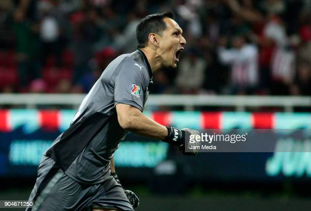 Rodolfo Cota goalkeeper of Chivas shouts during the 2nd round match between Chivas and Cruz Azul as part of the Torneo Clausura 2018 Liga MX at Akron...