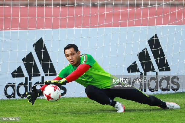 Rodolfo Cota goalkeeper of Mexico makes a save during a training session at Centenario Stadium on August 28 2017 in Cuernavaca Mexico