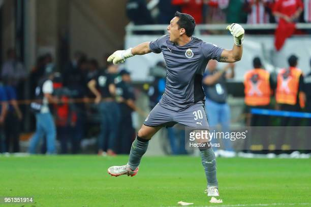 Rodolfo Cota of Chivas celebrates after the second leg match of the final between Chivas and Toronto FC as part of CONCACAF Champions League 2018 at...