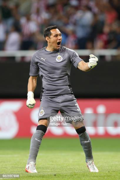 Rodolfo Cota of Chivas celebrates during the quarterfinal second leg match between Chivas and Seattle Sounders as part of the CONCACAF Champions...
