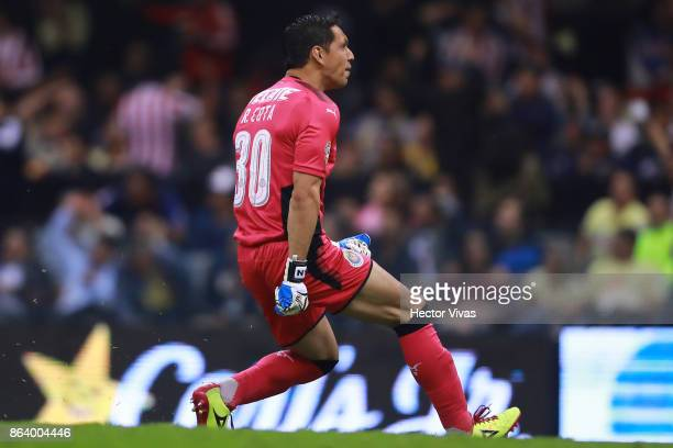 Rodolfo Cota of Chivas celebrates the first goal of his team during the 10th round match between America and Chivas as part of the Torneo Apertura...