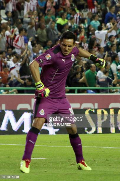 Rodolfo Cota the goalkeaper of Guadalajara celebrates their goal against Leon during their Mexican Clausura 2016 Tournament football match at Nou...