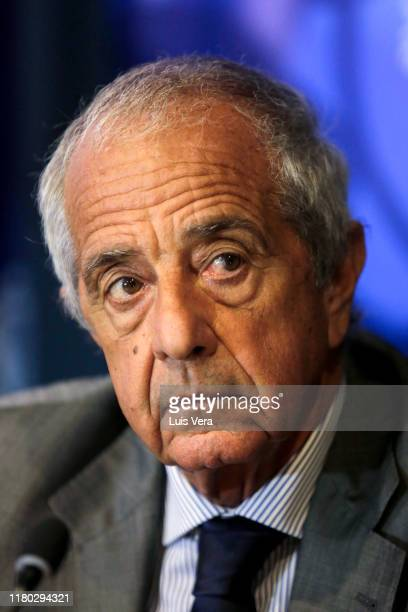 Rodolfo D'Onofrio president of Club River Plate gestures a meeting involving presidents of CONMEBOL River Plate and Flamengo and representatives of...