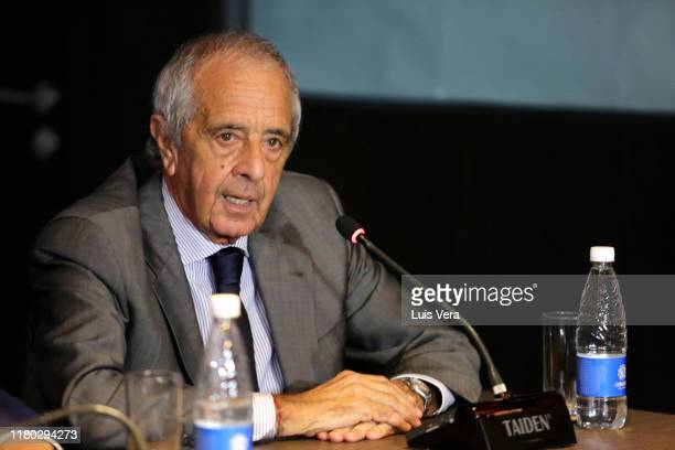 Rodolfo D'Onofrio president of River Plate speaks during a meeting involving presidents of CONMEBOL River Plate and Flamengo and representatives of...