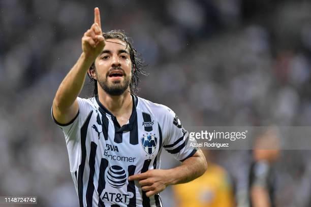 Rodolfo Pizarro #20 of Monterrey celebrates after scoring his team's first goal during the quarterfinals second leg match between Monterrey and...