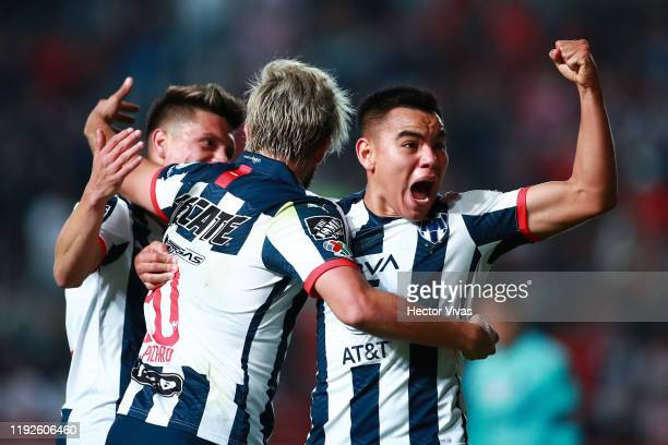 Rodolfo Pizarro and Carlos Rodriguez of Monterrey celebrate after the first goal of their team during the Semifinals second leg match between Necaxa...