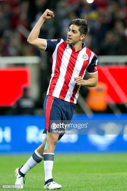Rodolfo Pizarro celebrates after scoring a penalty during a friendly match between Chivas and Boca Juniors at Chivas Stadium on February 02 2017 in...