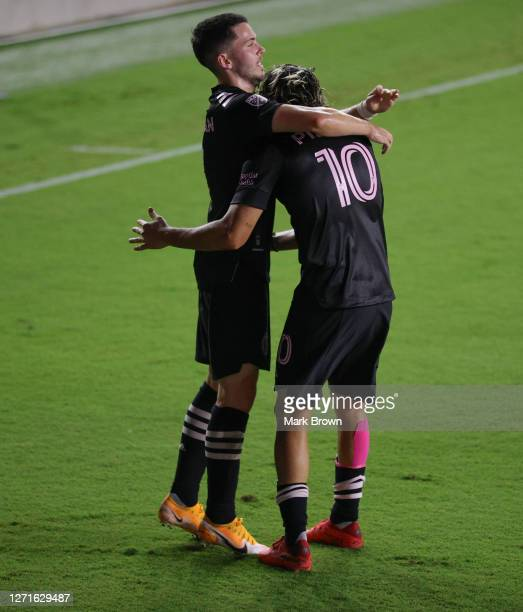 Rodolfo Pizarro celebrates with Lewis Morgan of Inter Miami CF after he scored his first goal during a game against Atlanta United FC at Inter Miami...