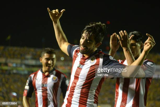 Rodolfo Pizarro of Chivas celebrates after scoring his team's second goal during the Final first leg match between Tigres UANL and Chivas as part of...