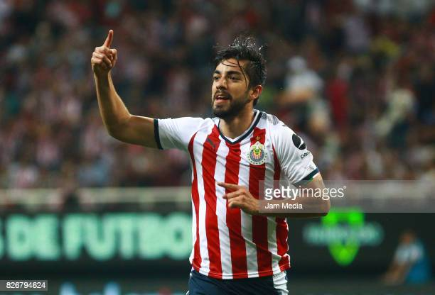 Rodolfo Pizarro of Chivas celebrates after scoring the second goal of his team during the third round match between Chivas and Necaxa as part of the...