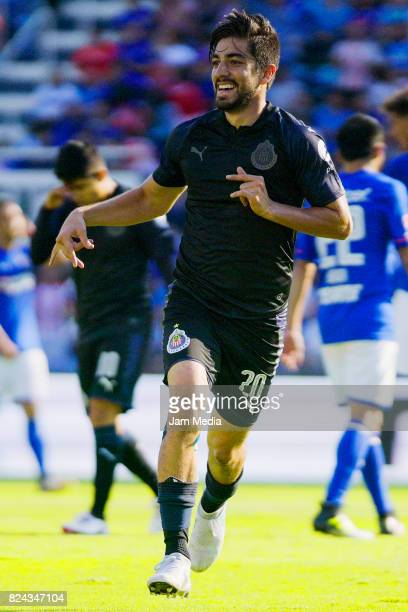 Rodolfo Pizarro of Chivas celebrates after scoring the tying goal during the 2nd round match between Cruz Azul and Chivas as part of the Torneo...