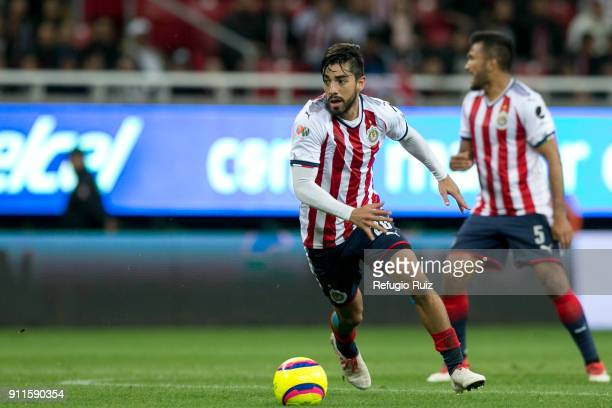 Rodolfo Pizarro of Chivas drives the ball during the 4th round match between Chivas and Monterrey as part of the Torneo Clausura 2018 Liga MX at...