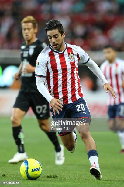 Rodolfo Pizarro of Chivas drives the ball during the 8th round match between Chivas and Pachuca as part of the Torneo Clausura 2018 Liga MX at Akron...