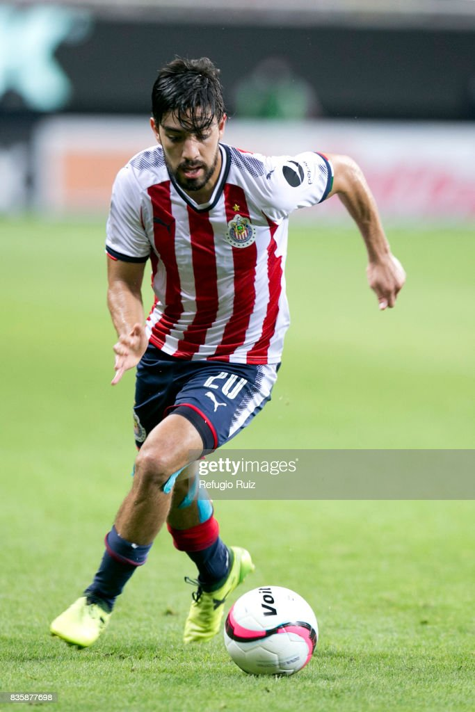 Rodolfo Pizarro of Chivas drives the ball during the fifth round match between Chivas and Puebla as part of the Torneo Apertura 2017 Liga MX at Chivas Stadium on August 19, 2017 in Zapopan, Mexico.