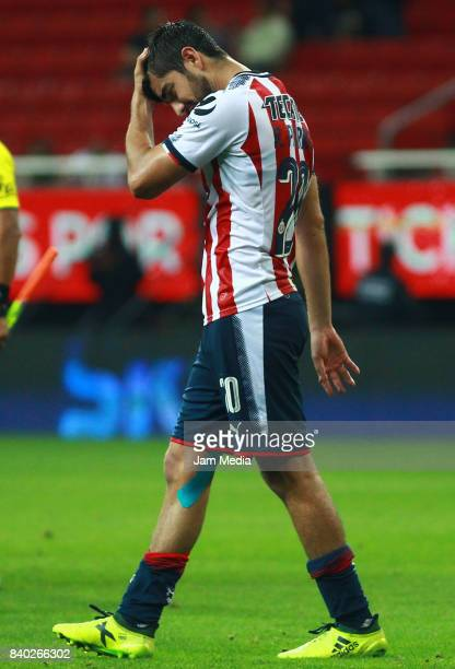 Rodolfo Pizarro of Chivas laments during the seventh round match between Chivas and Queretaro as part of the Torneo Apertura 2017 Liga MX at Omnilife...