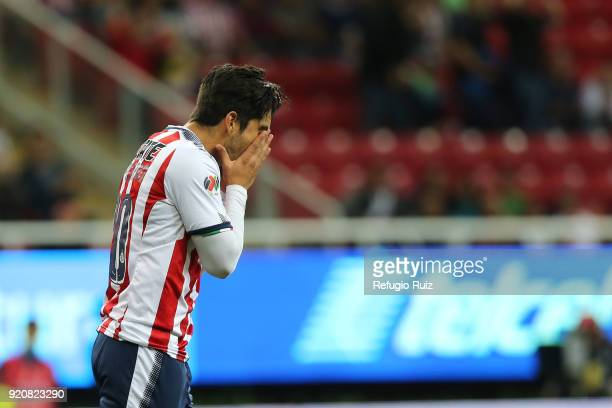 Rodolfo Pizarro of Chivas reacts during the 8th round match between Chivas and Pachuca as part of the Torneo Clausura 2018 Liga MX at Akron Stadium...
