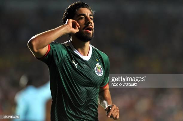 Rodolfo Pizarro of Guadalajara celebrates his goal against Morelia during their Mexican Clausura tournament football match at the Morelos stadium on...