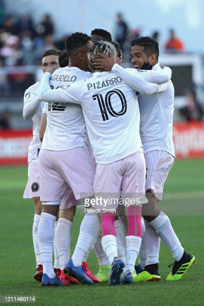 Rodolfo Pizarro of Inter Miami celebrates with teammates against D.C. United during the first half at Audi Field on March 7, 2020 in Washington, DC.