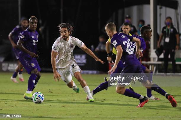 Rodolfo Pizarro of Inter Miami controls the ball during a match between Orlando City and Inter Miami as part of MLS is back Tournament at ESPN Wide...