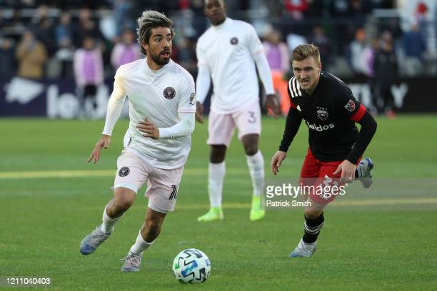 Rodolfo Pizarro of Inter Miami looks to pass Julian Gressel of D.C. United during the second half at Audi Field on March 7, 2020 in Washington, DC.