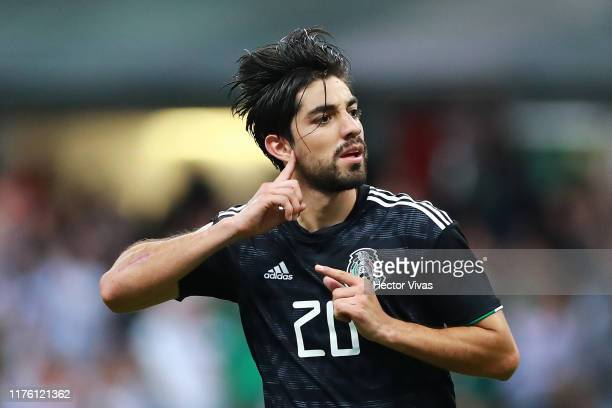 Rodolfo Pizarro of Mexico celebrates after scoring the third goal of his team during the match between Mexico and Panama as part of the Concacaf...