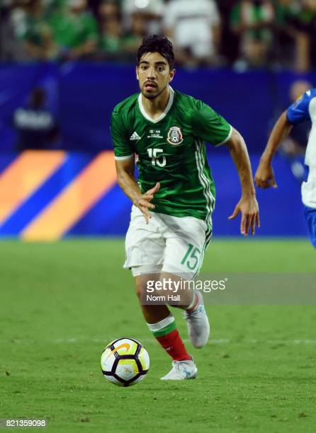 Rodolfo Pizarro of Mexico controls the ball against Honduras in a quarterfinal match during the CONCACAF Gold Cup at University of Phoenix Stadium on...