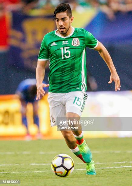 Rodolfo Pizarro of Mexico drives the ball during a Group C match between Mexico and El Salvador as part of Gold Cup 2017 at Qualcomm Stadium on July...