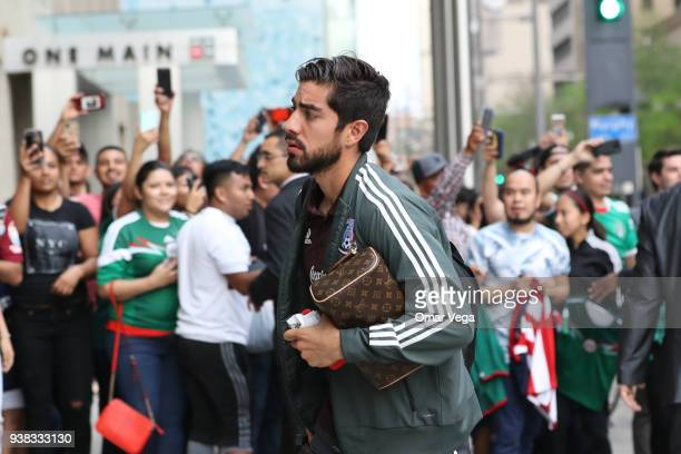 Rodolfo Pizarro of Mexico looks on during the arrival of Mexican National Team at Westin Hotel on March 25 2018 in Dallas Texas Mexico will face...
