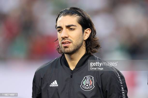 Rodolfo Pizarro of Mexico sings National anthem during the CONCACAF Gold Cup 2019 final match between United States and Mexico at Soldier Field on...