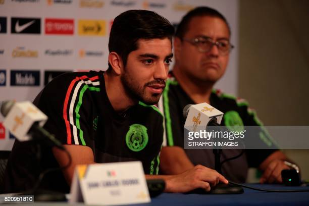 Rodolfo Pizarro of Mexico speaks during the Mexico National Team press conference at Rose Bowl Stadium on July 22 2017 in Pasadena California