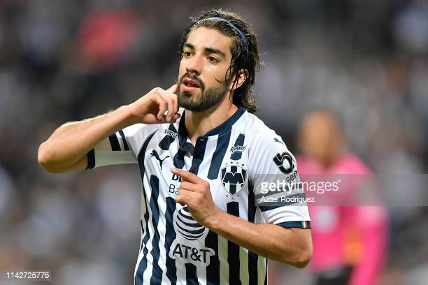 Rodolfo Pizarro of Monterrey celebrates after scoring his team's first goal during the 14th round match between Monterrey and Santos as part of the...