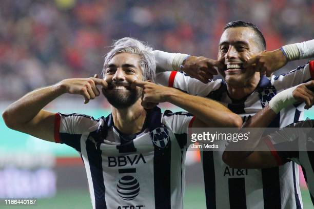 Rodolfo Pizarro of Monterrey celebrates with teammates after scoring the second goal of his team during the 18th round match between Tijuana and...