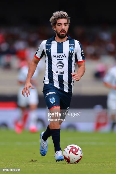 Rodolfo Pizarro of Monterrey drives the ball during the 3rd round match between Pumas UNAM and Monterrey as part of the Torneo Clausura 2020 Liga MX...