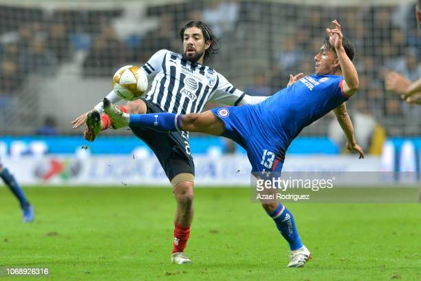 Rodolfo Pizarro of Monterrey fights for the ball with Angel Mena of Cruz Azul during the semifinal first leg match between Monterrey and Cruz Azul as...