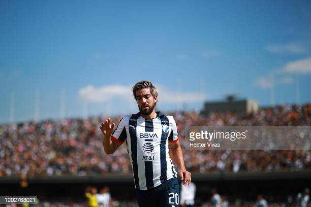 Rodolfo Pizarro of Monterrey gestures during the 3rd round match between Pumas UNAM and Monterrey as part of the Torneo Clausura 2020 Liga MX at...