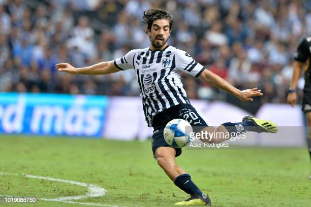 Rodolfo Pizarro of Monterrey kicks the ball during the fifth round match between Monterrey and Pumas UNAM as part of the Torneo Apertura 2018 Liga MX...