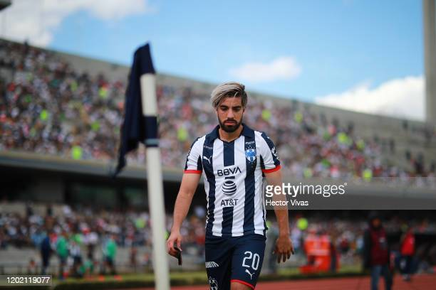 Rodolfo Pizarro of Monterrey reacts during the 3rd round match between Pumas UNAM and Monterrey as part of the Torneo Clausura 2020 Liga MX at...