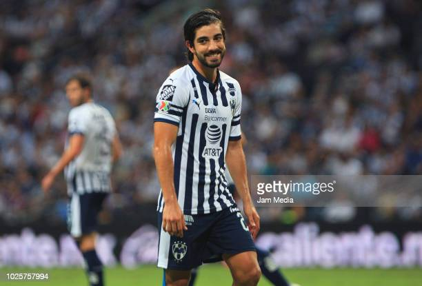 Rodolfo Pizarro of Monterrey smiles during the 7th round match between Monterrey and Morelia as part of the Torneo Apertura 2018 Liga MX at BBVA...