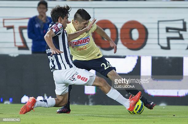 Rodolfo Pizarro of Pachuca vies for the ball with Oribe Peralta of America during their Mexican Clausura tournament football match at the Hidalgo...